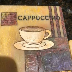 Resin Cappuccino coasters with holder